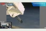 ISSから放出される衛星3機